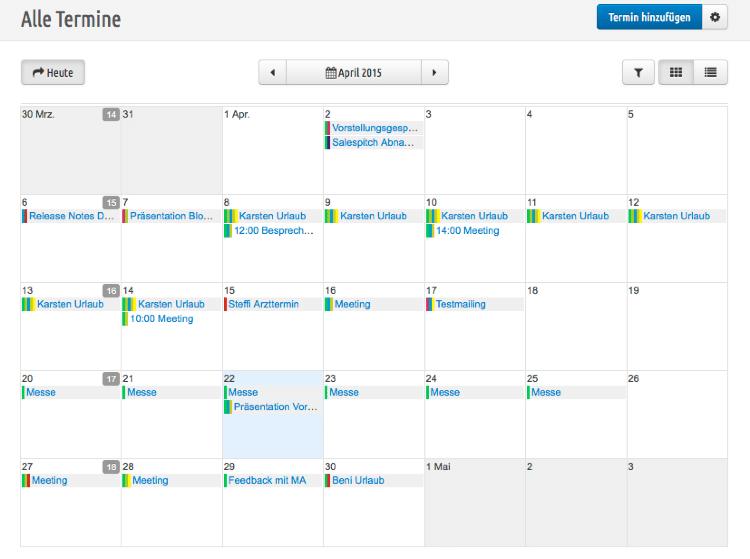 Übersichtlichkeit dank eines perfekt integrierten Kalenders