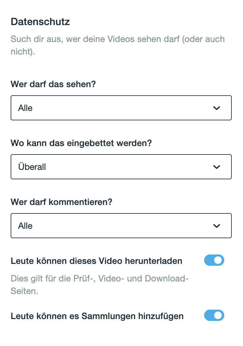 Datenschutz-Einstellungen auf Vimeo nachträglich anpassen